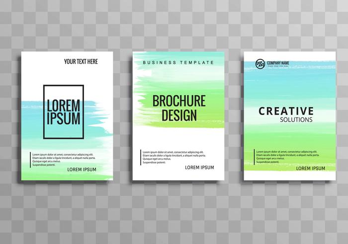 Abstract colorful business brochure watercolor template vector