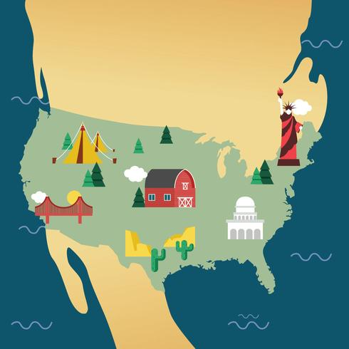 États-Unis Landmark Map Vector Design