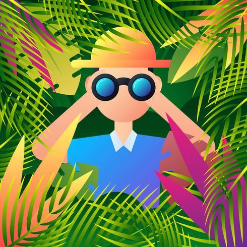 Jungle Explorer espionne quelque chose à travers ses jumelles