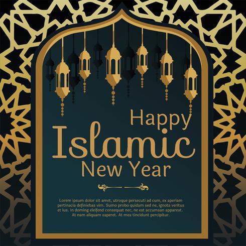 Vecteur de carte de voeux de nouvel an islamique
