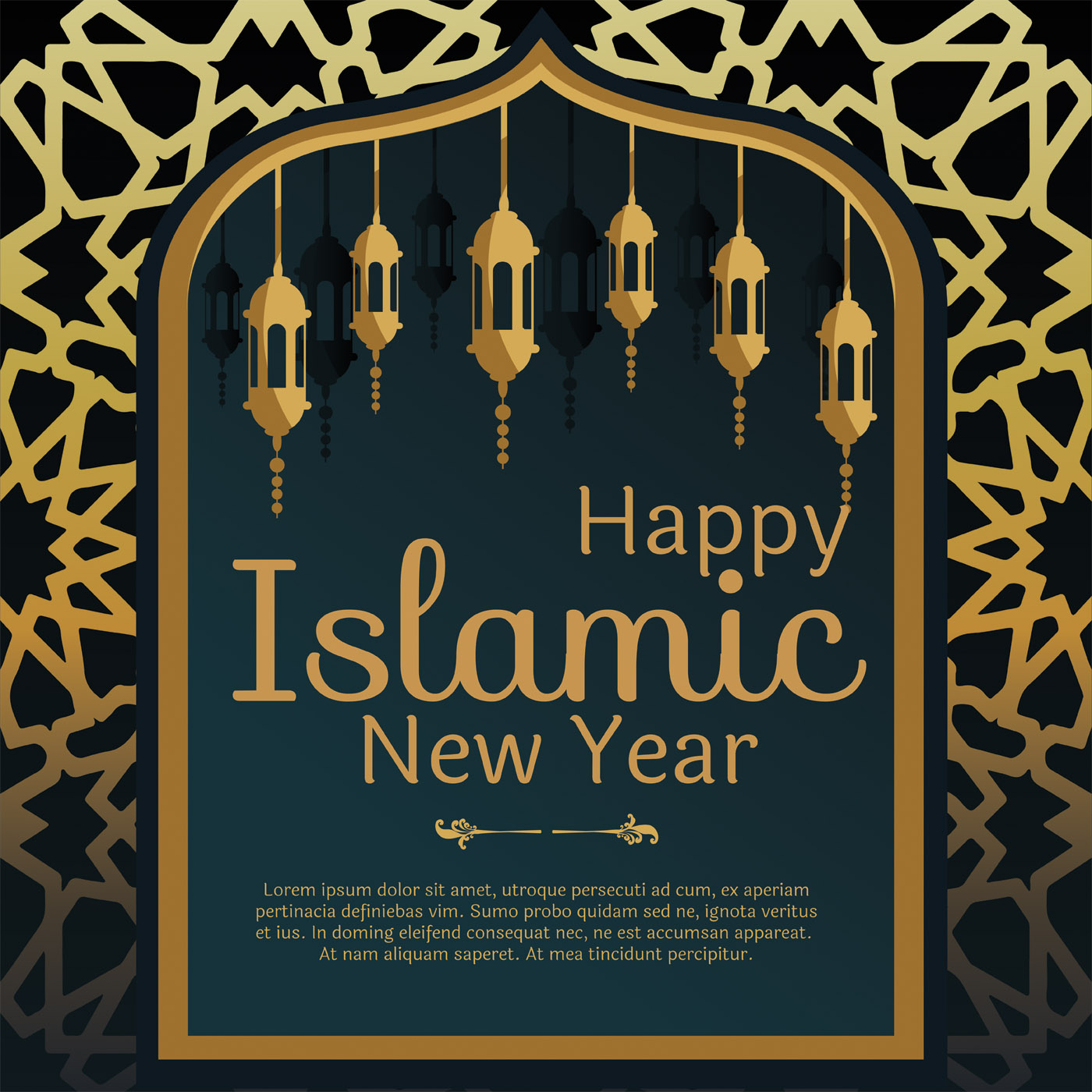 Islamic New Year Greeting Card Vector - Download Free ...