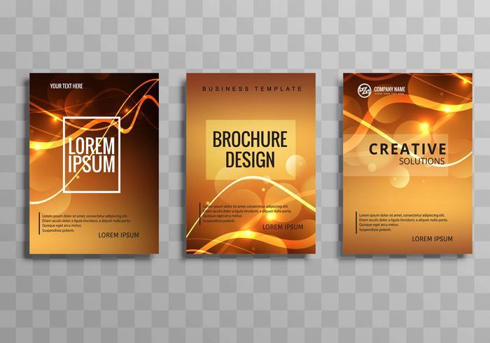 Ensemble de modèles de brochure entreprise brillant brillant abstrait