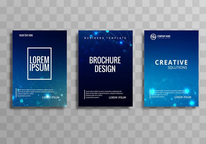 Abstracto azul colorido negocio folleto plantilla conjunto diseño