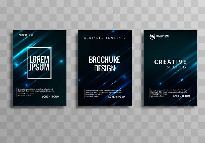 Conjunto de plantilla de diseño de folleto azul abstracto negocio