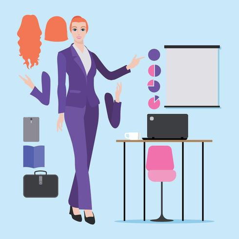Ilustración de mujer profesional blanca o europea con ropa de mujer de negocios