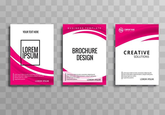 Plantilla de folleto de negocios elegante onda moderna establece ilustración