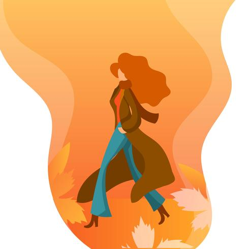 Flat Girl In Fall Season Character Vector Illustration