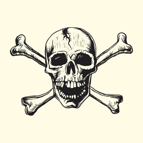 Cráneo, con, huesos, linocut, vector, diseño