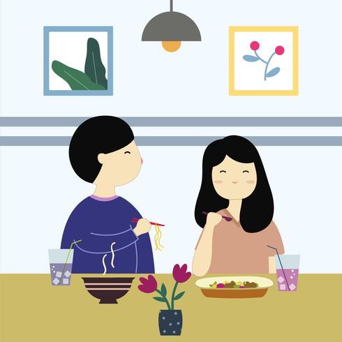 Linda pareja comiendo en restaurante Vector
