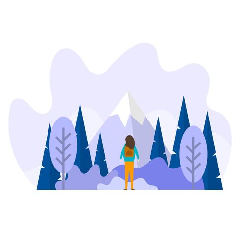 Flat Nature Explorer con gradiente de fondo Vector Illustration