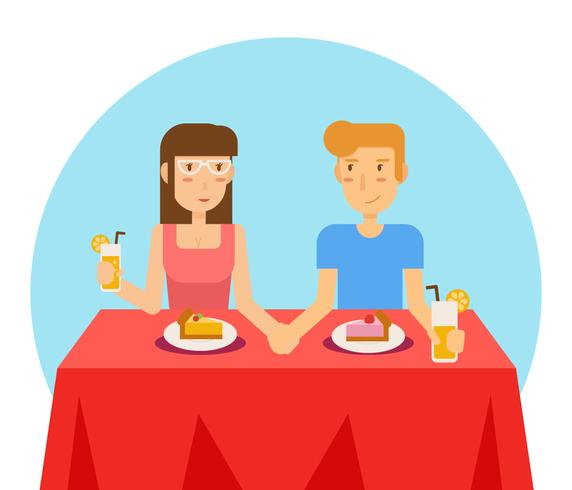 Pareja fecha comiendo en restaurante Vector