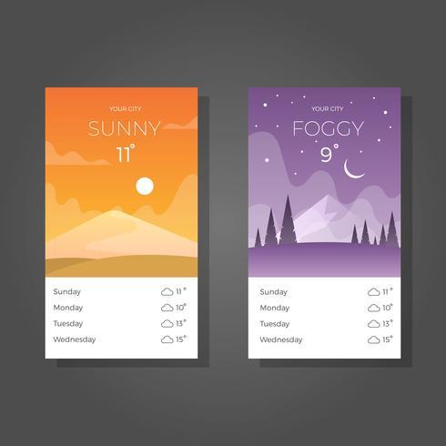 Écran plat météo applications avec arrière-plan dégradé vector illustration