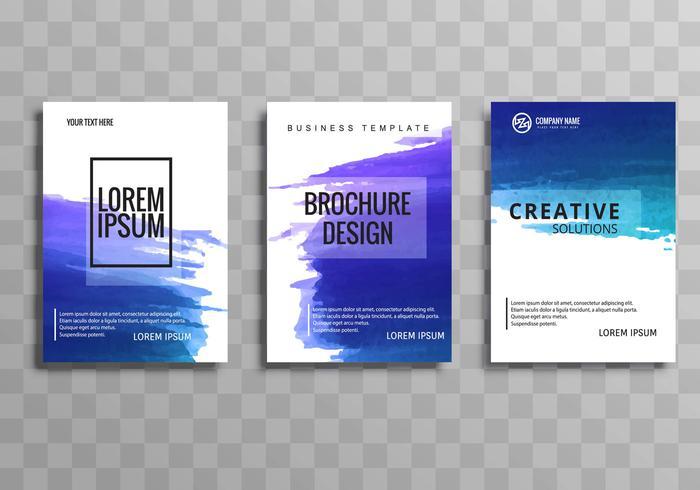 Conjunto de plantilla de folleto de negocios acuarela colorido abstracto