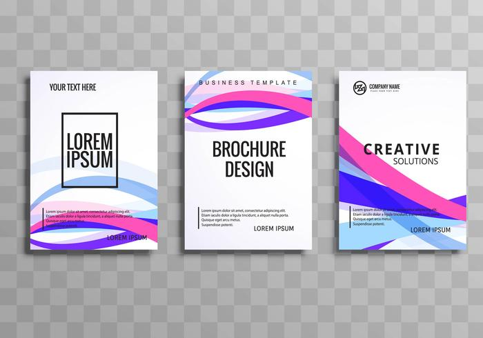 Abstract wave colorful buisness brochure template set vector