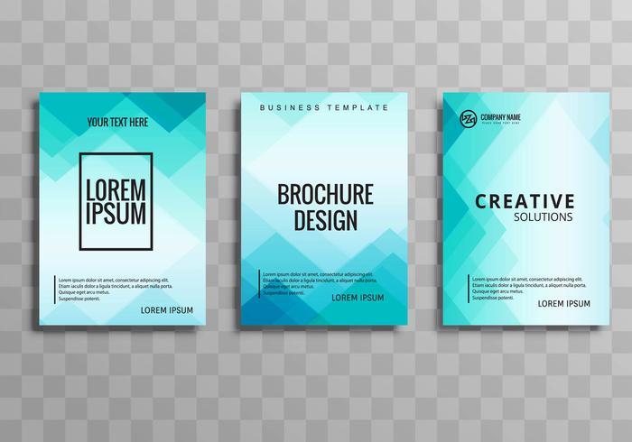 Conjunto de plantilla de folleto azul hermoso negocio