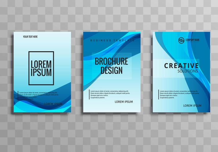 Abstract blue wave buisness brochure set design