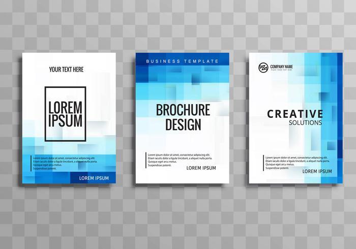 Conjunto de plantilla de folleto de negocios azul abstracto