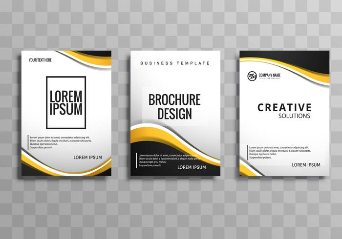 Modern business brochure template set with wave