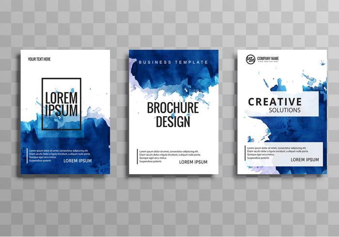 Vector de plantilla de folleto de negocio acuarela abstracta