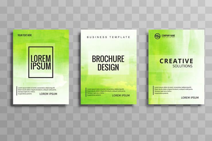 Diseño de plantilla de brochuse de negocio verde moderno set