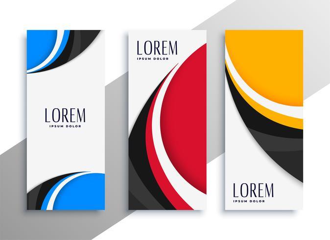 colorido ondulado vertical tarjeta de visita o diseño de banner