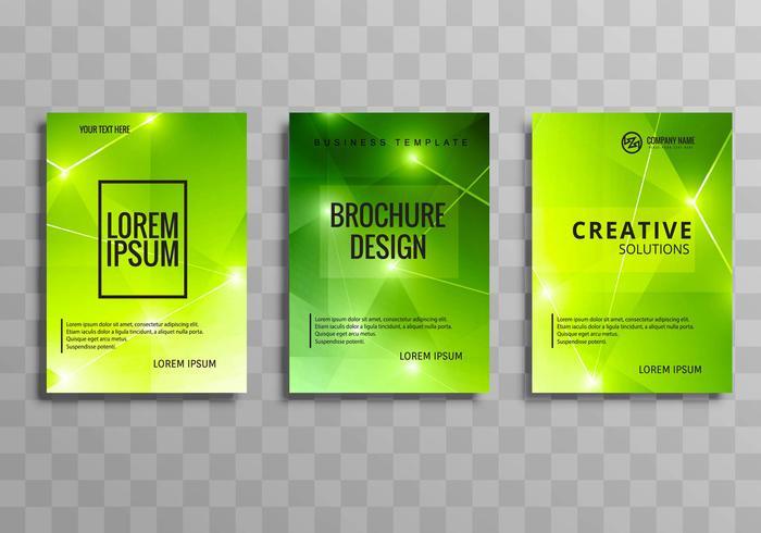 Diseño de folleto de polígono verde brillante moderno negocio conjunto