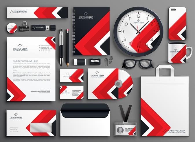 ensemble de papeterie de marque professionnelle rouge