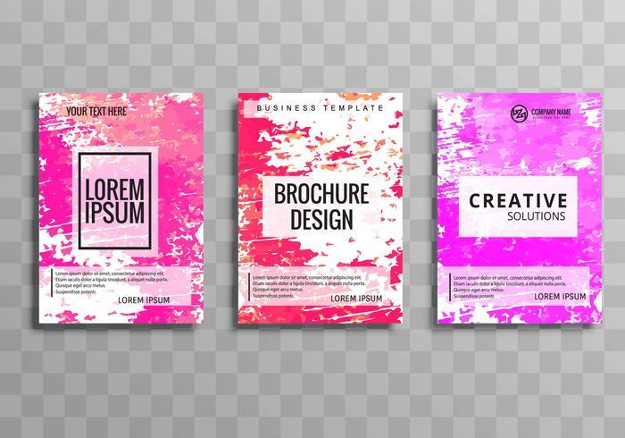 Moderno colorido negocio folleto grunge plantilla conjunto diseño