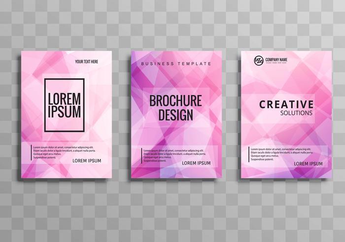 Conjunto de plantillas de folleto comercial moderno colorido polígono