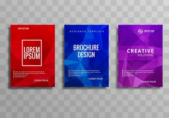 Plantilla de folleto comercial colorido abstracto conjunto diseño de polígono