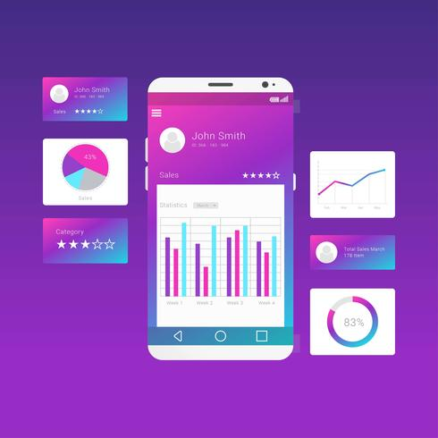 Gráficos UI Kit Purple Vector