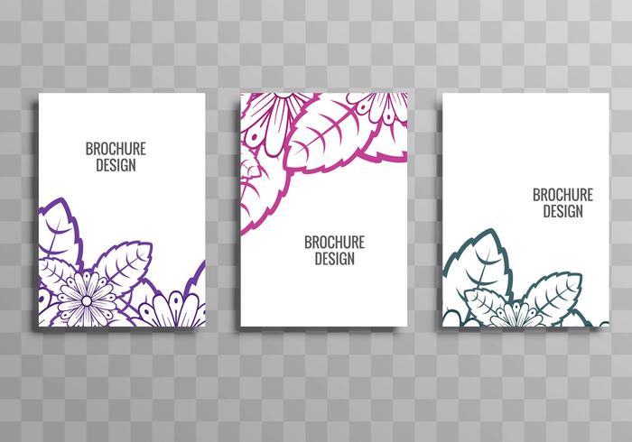 Modèle floral de brochure entreprise coloré abstrait défini vecteur