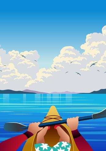 Kayaking First Person View Vector Illustration - Download Free Vector Art, Stock Graphics & Images