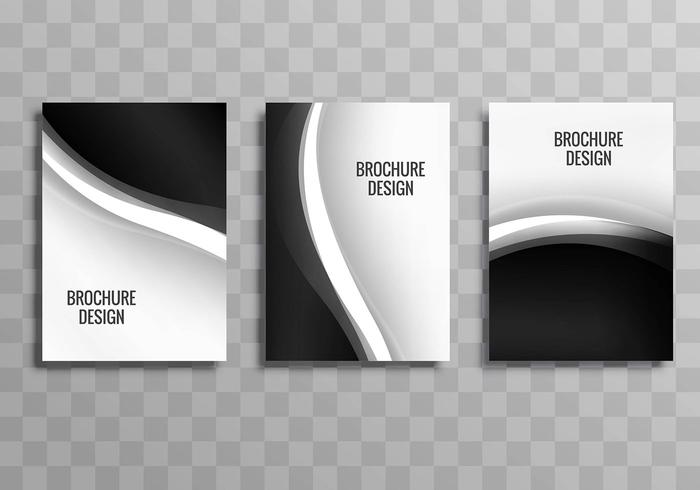 Moderno conjunto de folletos de negocios ondulados