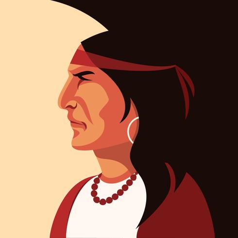 Vetor de retrato indiano nativo americano