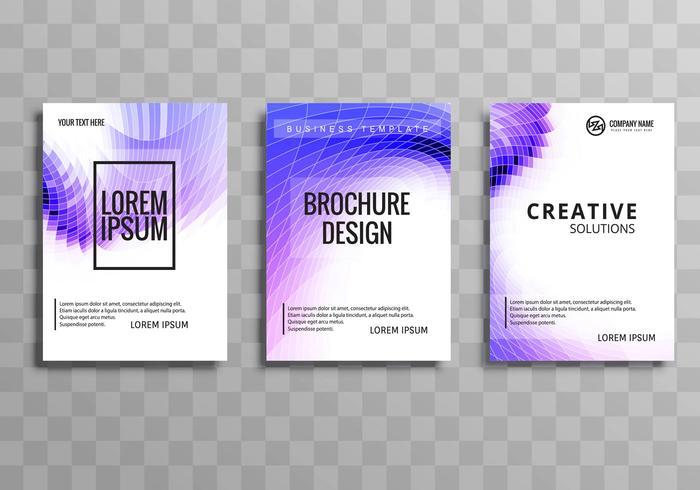 Negocio abstracto folleto colorido fondo de la onda de mosaico conjunto