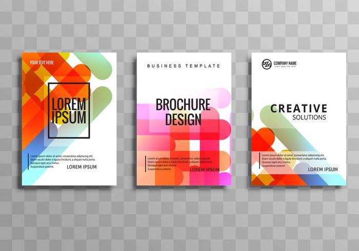 Diseño de conjunto de plantilla de folleto de negocio abstracto colorido