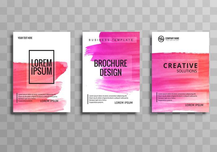 Vacker vattenfärg färgglada affärs broschyr uppsättning mall de