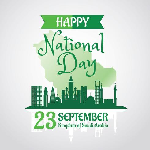 Kingdom of Saudi Arabia National Day with Skyline Background vector
