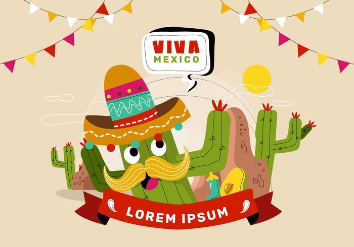Festive Viva Mexico Banner Background Vector Illustration