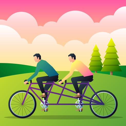 Two Casual Man Riding Tandem Bicycle Flat Vector Illustration