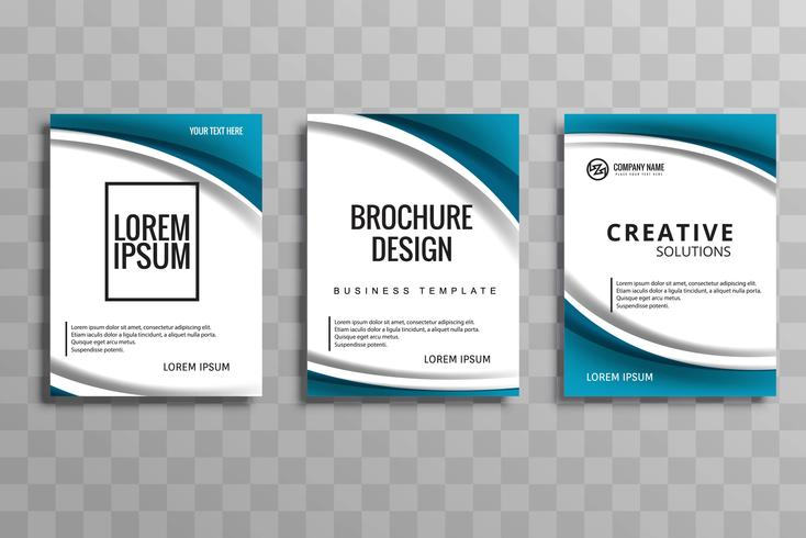 Abstract wave business brochure set template design