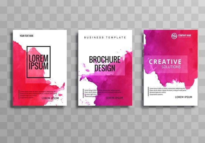 Plantilla de folleto de negocios coloridos abstractos acuarela