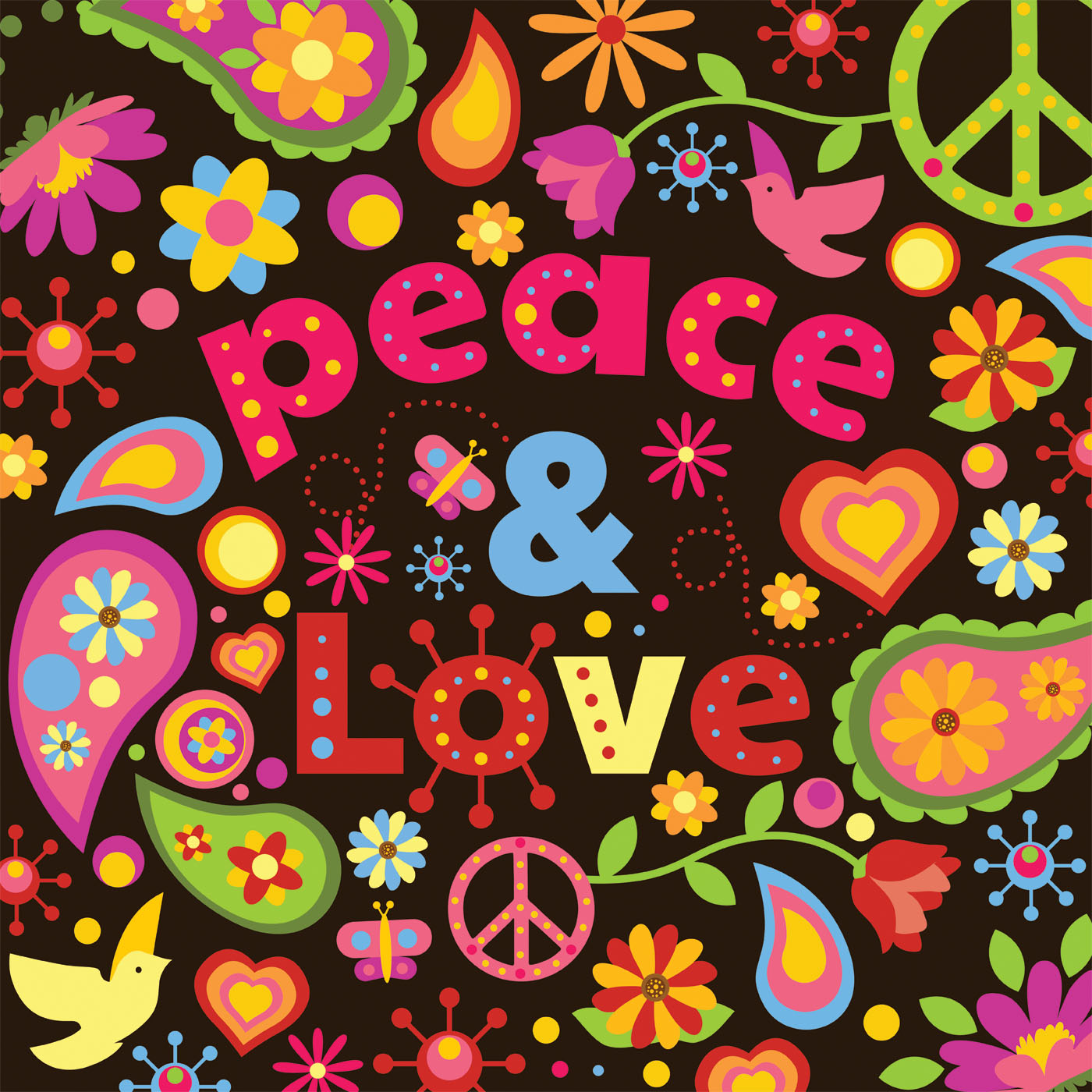 Wallpaper Of Peace: Peace And Love Vector Design