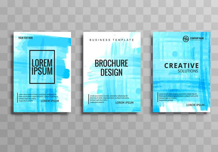Abstract blue watercolor business brochure background set