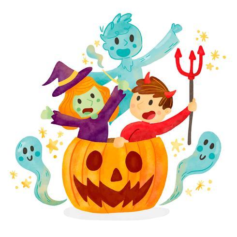 Niños lindos con traje de Halloween dentro de calabaza