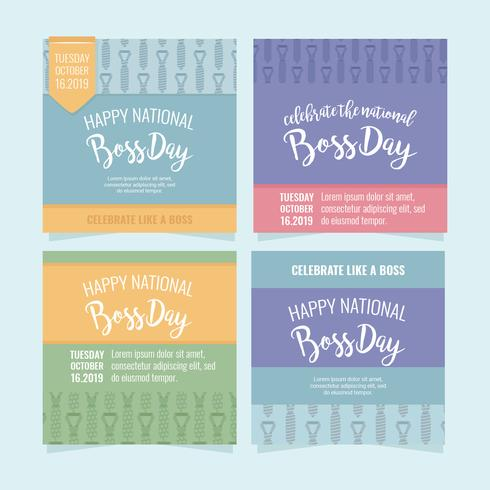 vector tarjetas del día del jefe nacional