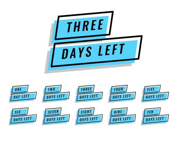 cantidad de días que faltan pancartas para la venta y promoción