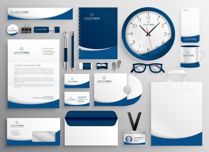 modernt blått professionellt företag brevpapper uppsättning