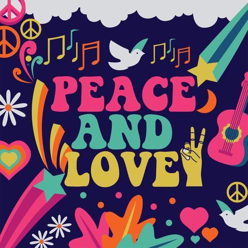 Diseño vectorial de paz y amor